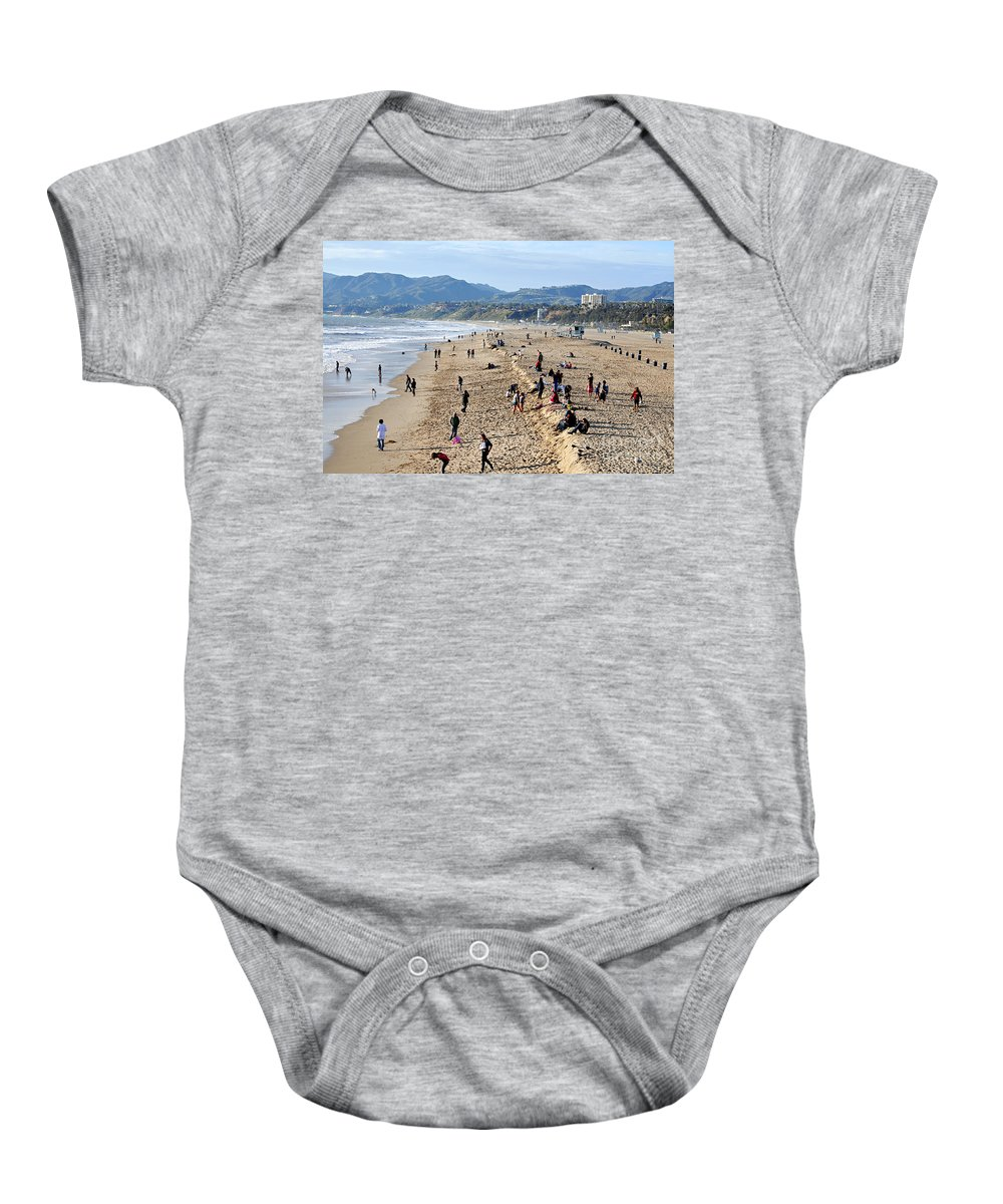 Clay Baby Onesie featuring the photograph A Day At The Beach In Santa Monica by Clayton Bruster