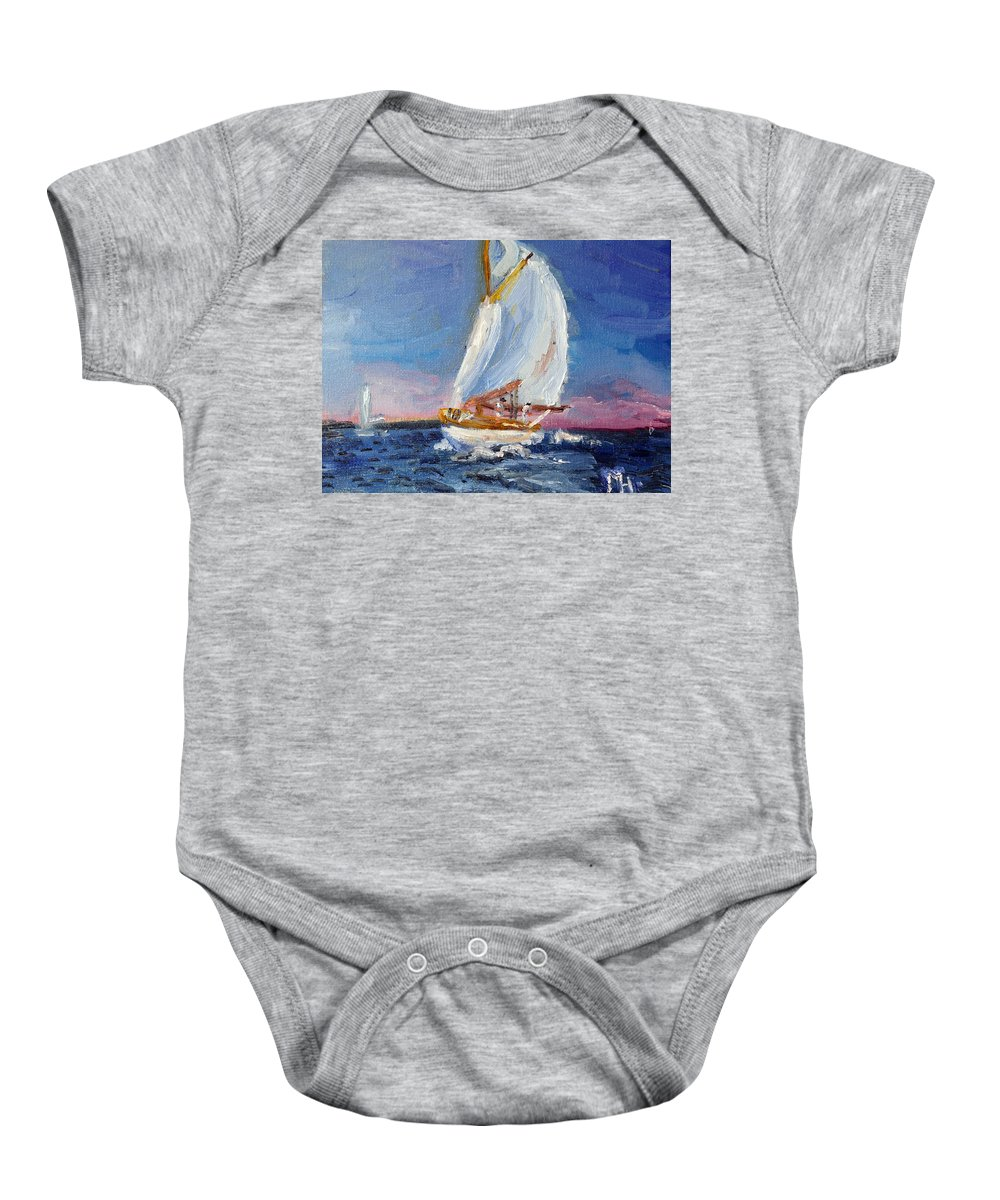 Sailing Baby Onesie featuring the painting A Day On A Boat Is..... by Michael Helfen