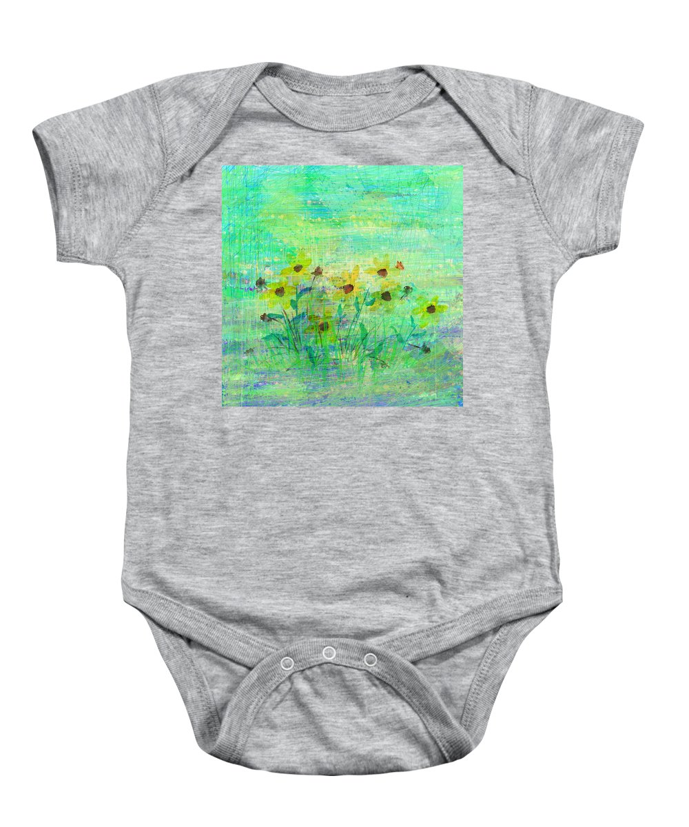 Abstract Baby Onesie featuring the digital art A Few Last Snacks by Rachel Christine Nowicki