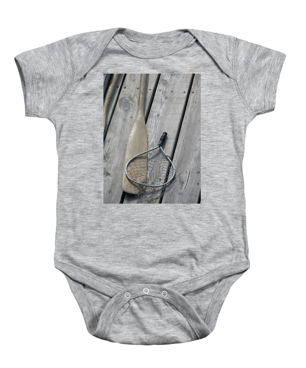 Net Baby Onesie featuring the photograph A Fisherman's Tools by Kelly Mezzapelle