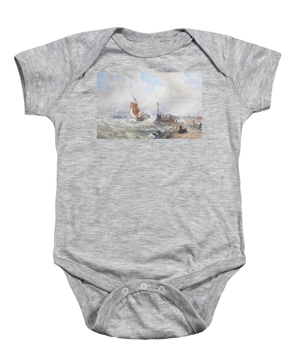 Thomas Sewell Robins Baby Onesie featuring the painting A Fishing Smack Entering Harbour by Thomas Sewell