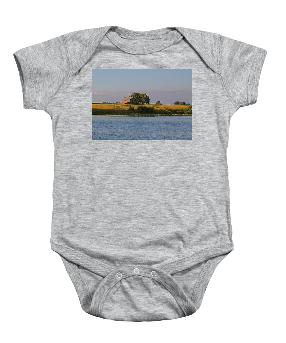 Related Tags: Farms Artwork Baby Onesie featuring the photograph A June Evening by Robert Pearson