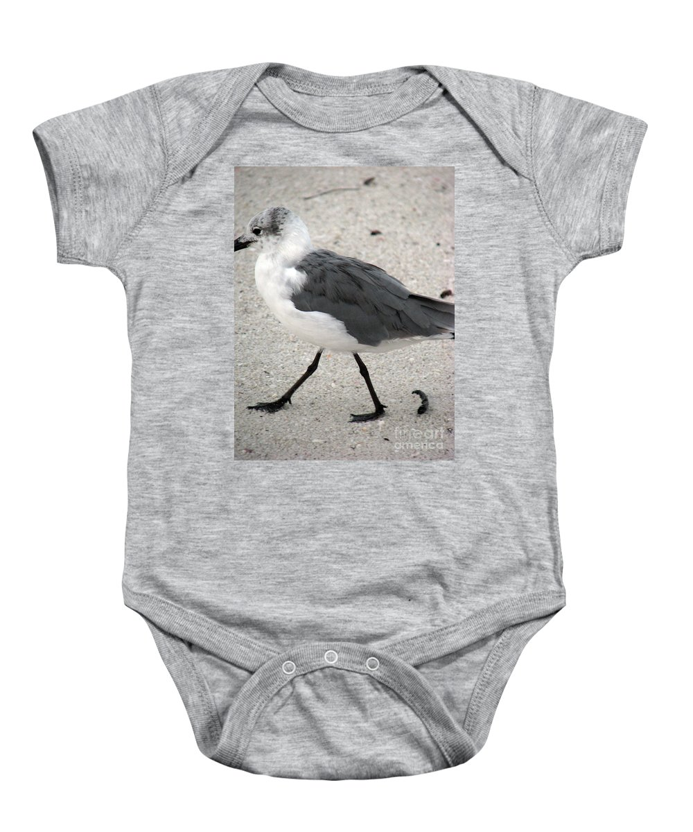 Seagulls Baby Onesie featuring the photograph A Late Summer Walk by Amanda Barcon