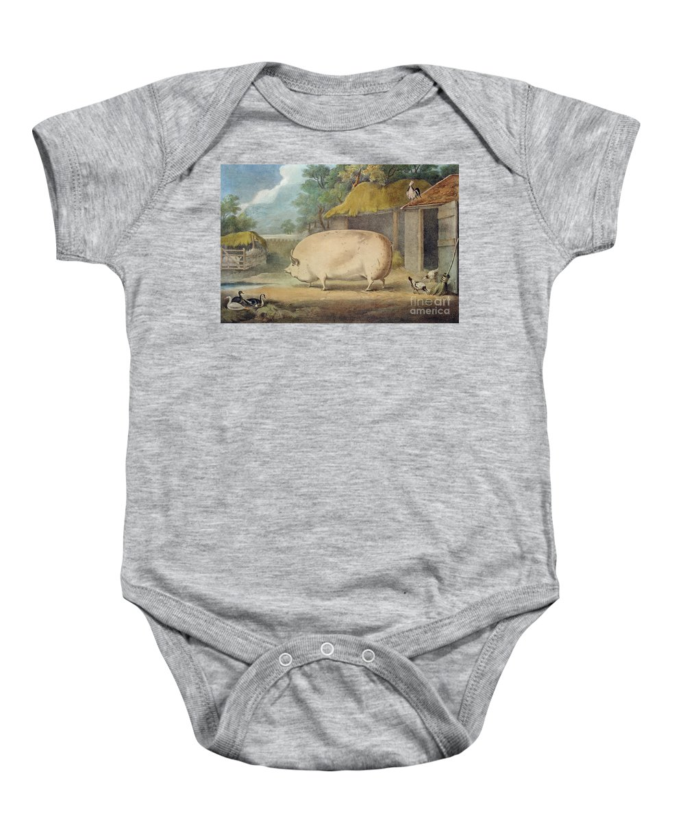 Pig Baby Onesie featuring the painting A Leicester Sow by William Henry Davis