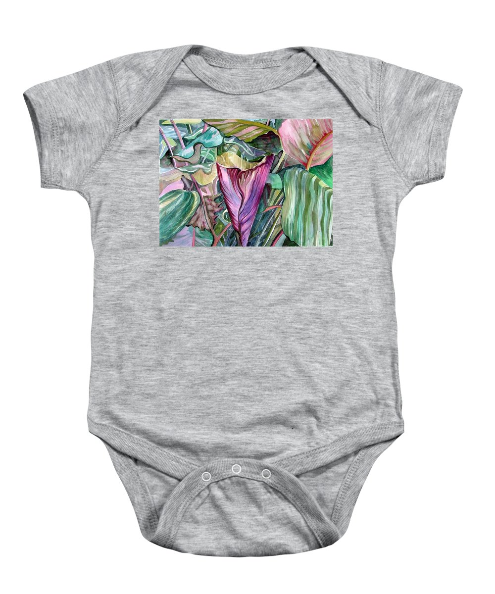 Garden Baby Onesie featuring the painting A Light In The Garden by Mindy Newman
