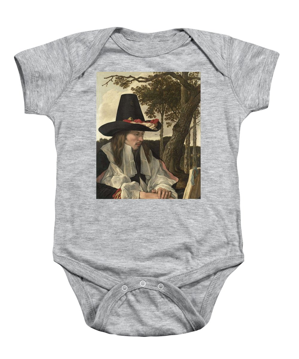 Man Baby Onesie featuring the painting A Man Reading, Anonymous, C. 1660 by Artistic Rifki