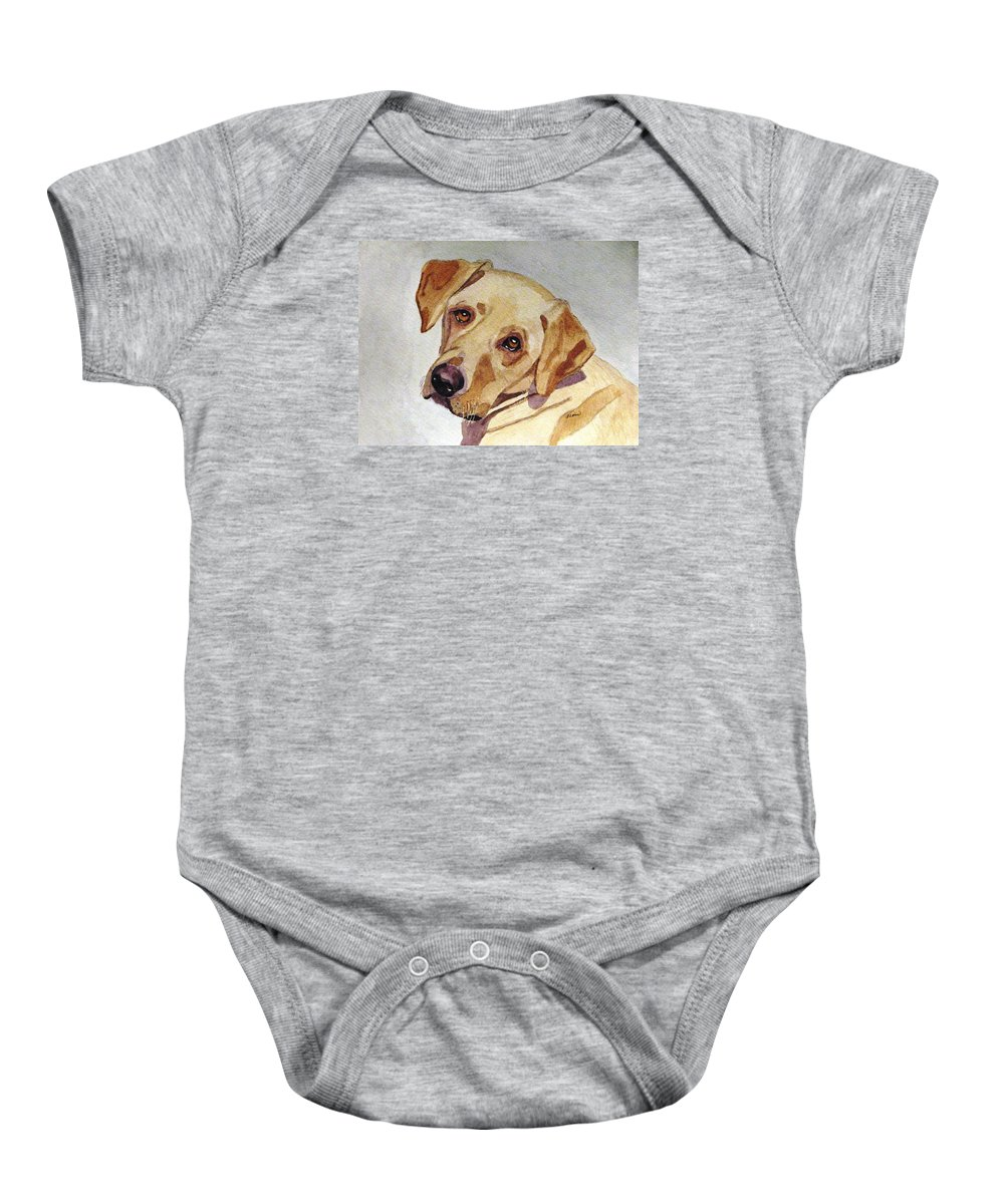 Yellow Lab Baby Onesie featuring the painting A Mellow Yellow by Angela Davies