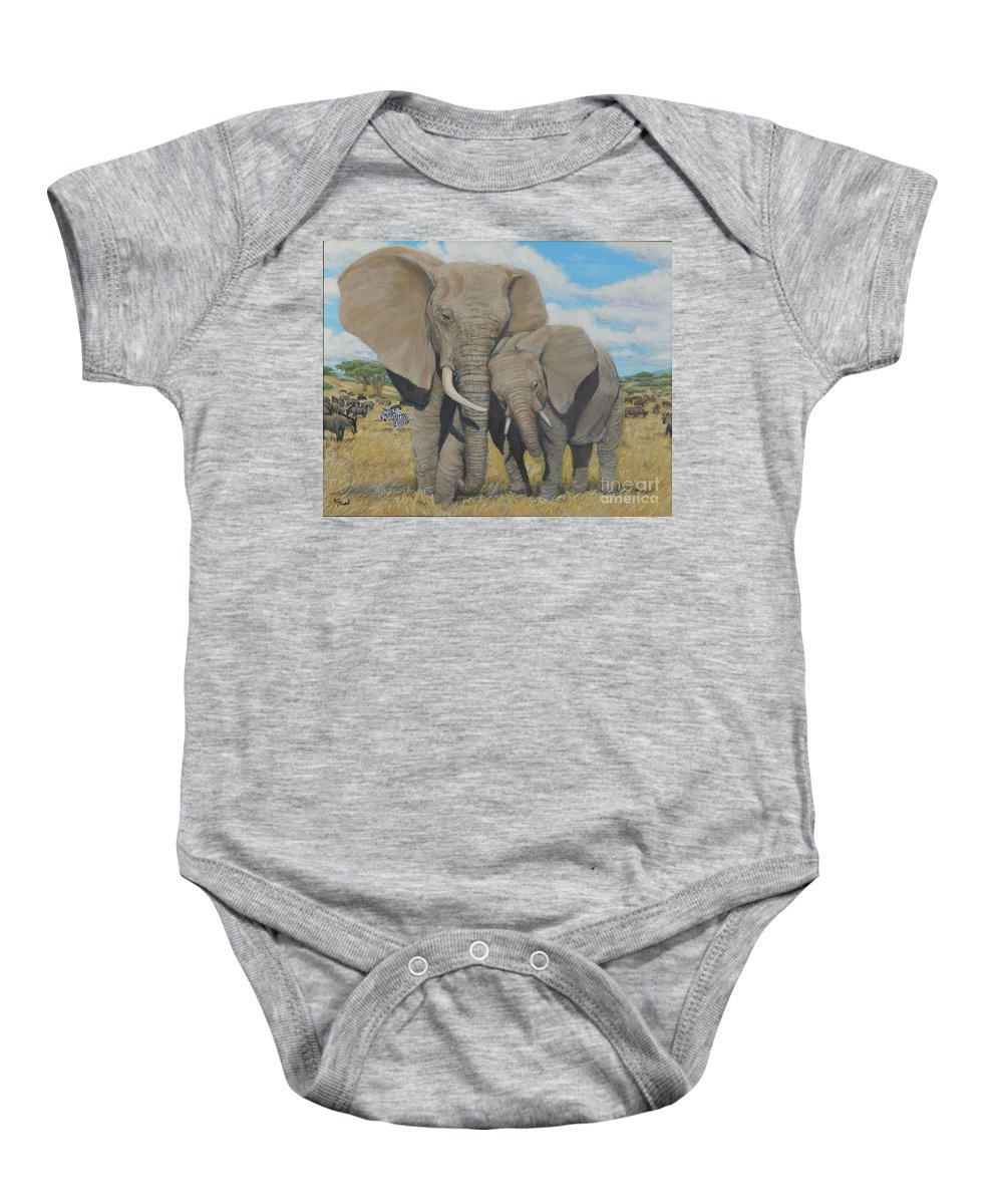 Landscape Baby Onesie featuring the painting A Mother's Love by Jeremy Reed
