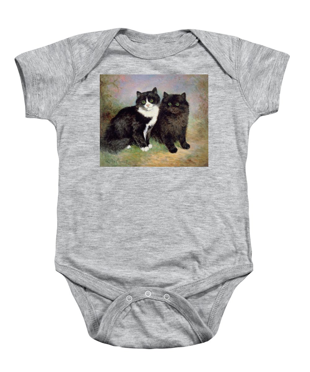 A Pair Of Pussy Cats Baby Onesie featuring the painting A Pair Of Pussy Cats by Lilian Cheviot