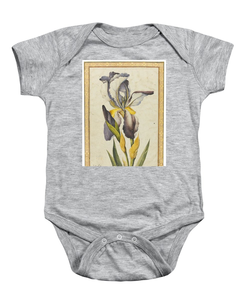 A Purple Iris Baby Onesie featuring the painting A Purple Iris by Muhammad
