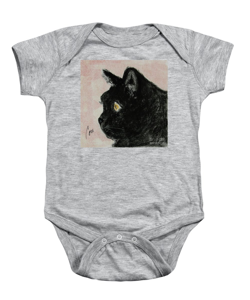 Pastels Baby Onesie featuring the mixed media A Purrfect Vision by Cori Solomon