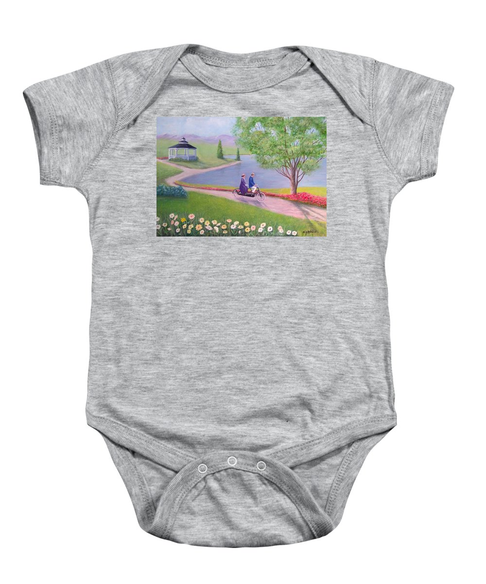 Landscape Baby Onesie featuring the painting A Ride In The Park by William H RaVell III