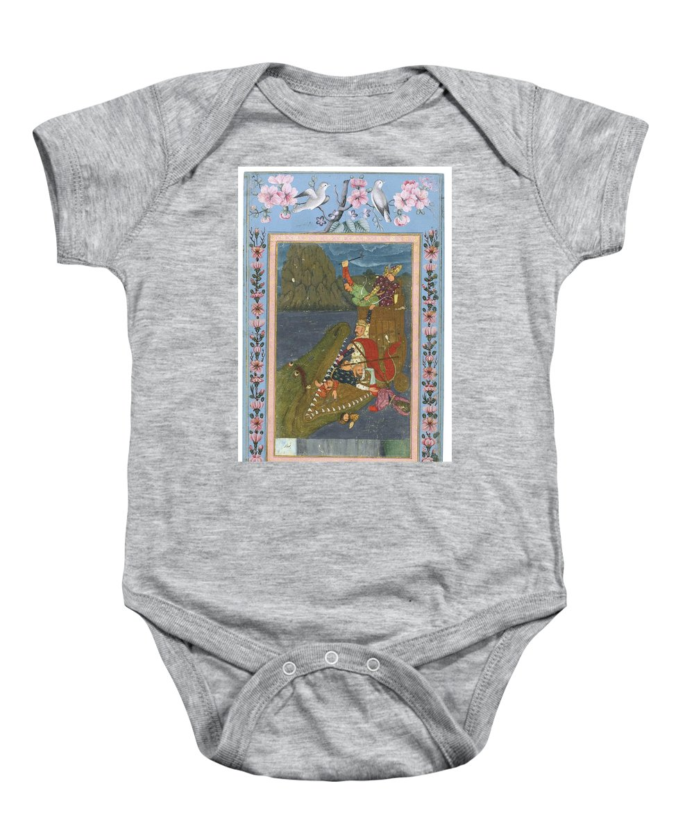 A Sea Monster Swallowing A Boat Baby Onesie featuring the painting A Sea Monster Swallowing A Boat by Eastern Accents