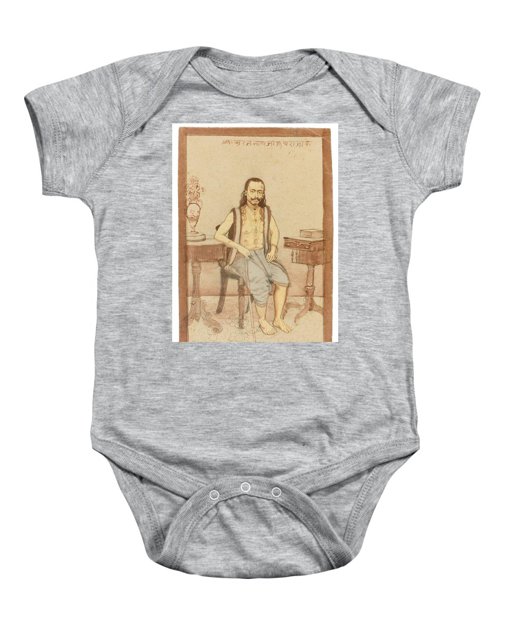 A Seated Indian Priest With English Furniture Baby Onesie featuring the painting A Seated Indian Priest With English Furniture by Eastern Accents