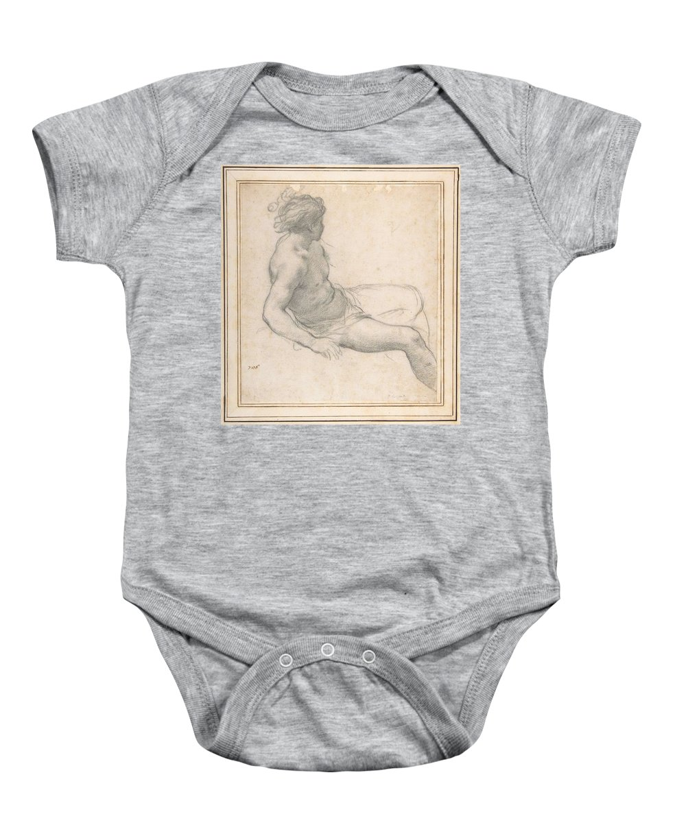 Man Baby Onesie featuring the painting a Seated Youth for the Age of Gold , Pietro da Cortona by Pietro da Cortona