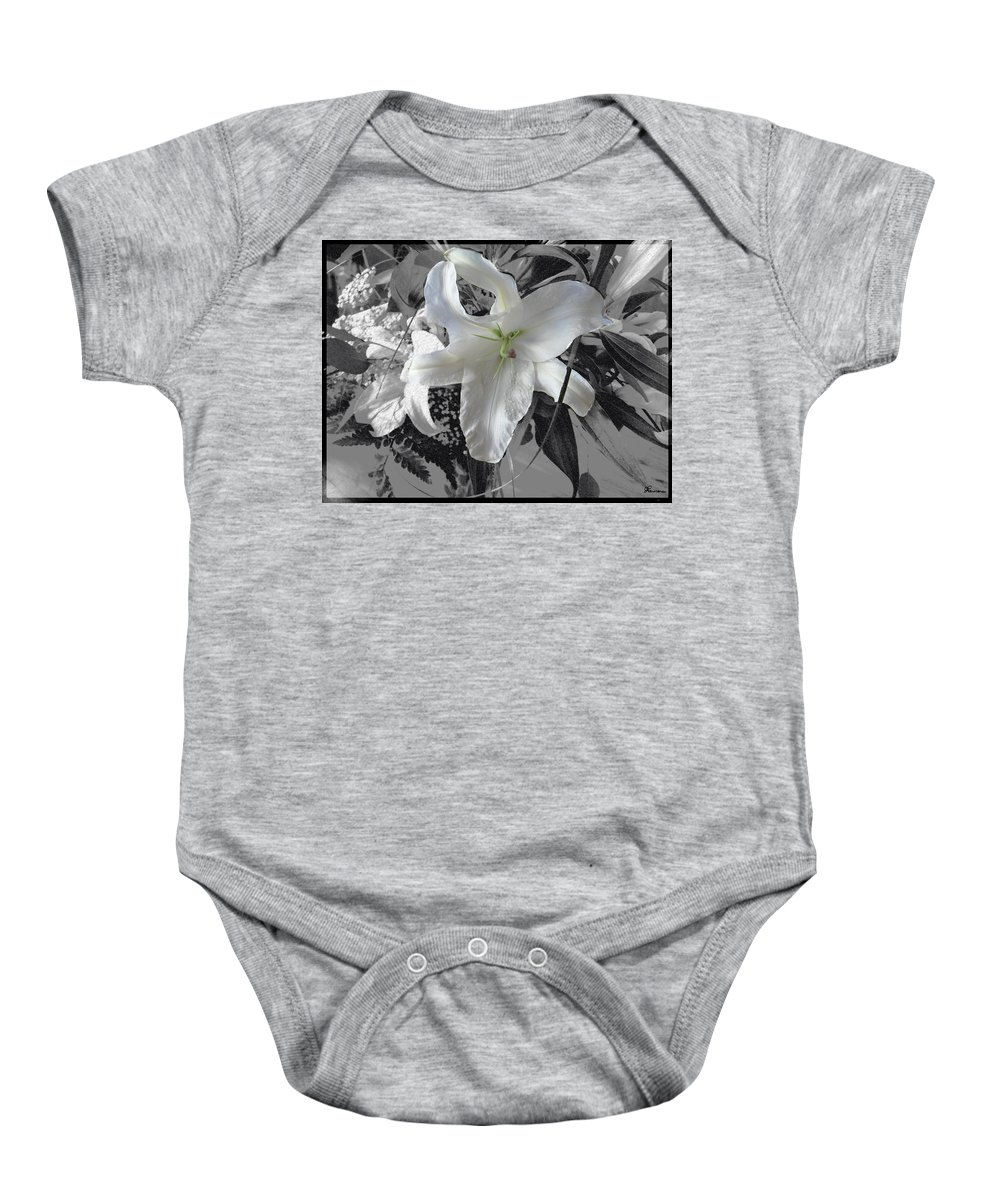 Lily Flowers Plants Nature Natural Flower Lilies Black And White  Baby Onesie featuring the photograph A Sense Of Purity by Andrea Lawrence