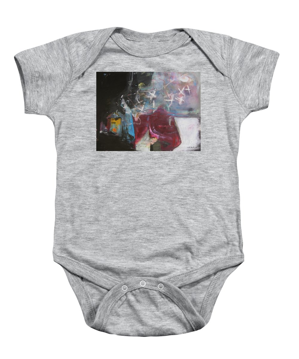 Abstract Paintings Baby Onesie featuring the painting A Short Story by Seon-Jeong Kim