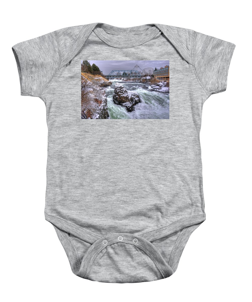 Spokane Baby Onesie featuring the photograph A Spokane Falls Winter by Lee Santa