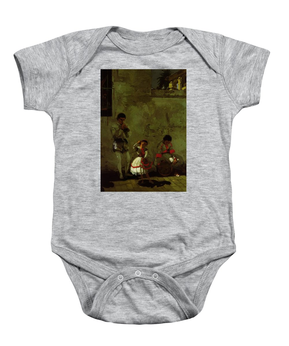 A Baby Onesie featuring the painting A Street Scene In Sevilla 1870 by Eakins Thomas