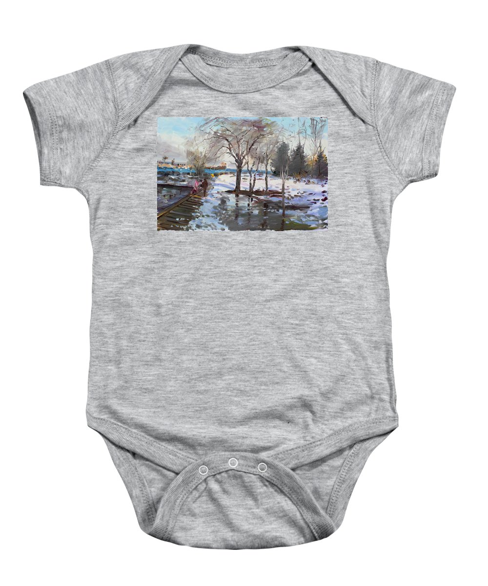 Landscape Baby Onesie featuring the painting A Sunny Freezing Day by Ylli Haruni