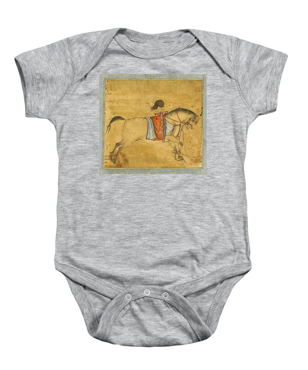 A Tethered Stallion Baby Onesie featuring the painting A Tethered Stallion by Eastern Accents