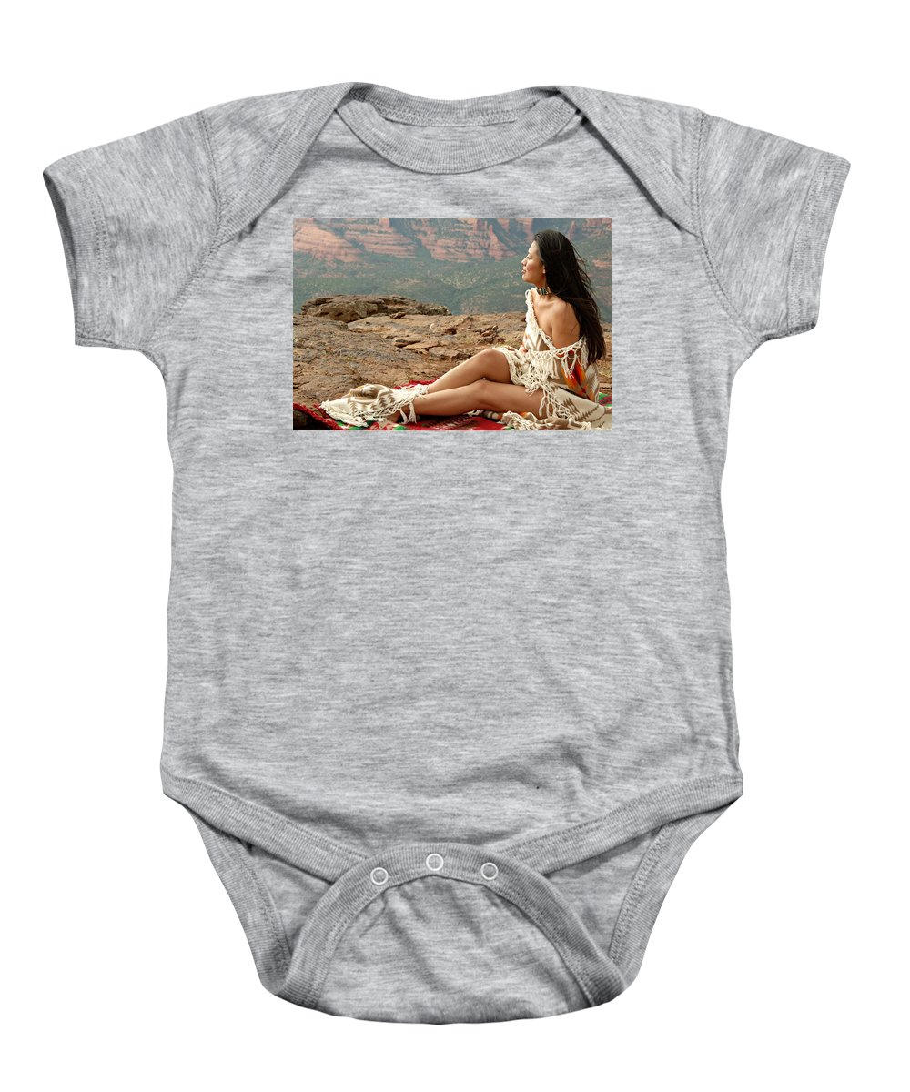 Native American Baby Onesie featuring the photograph A View by Scott Sawyer