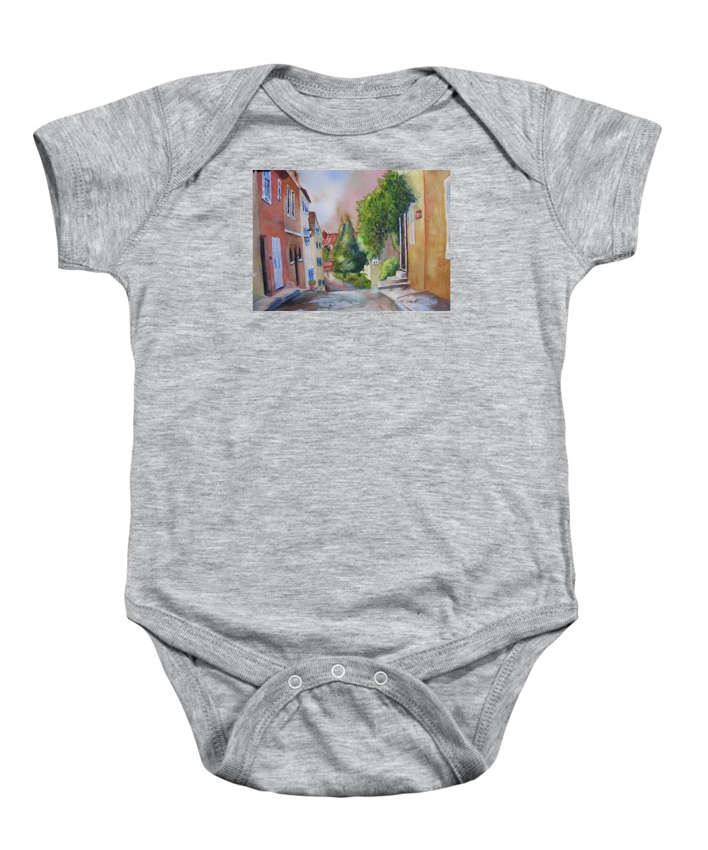 Cityscapes. Architecture Baby Onesie featuring the painting A Walk In The Village by Karen Stark
