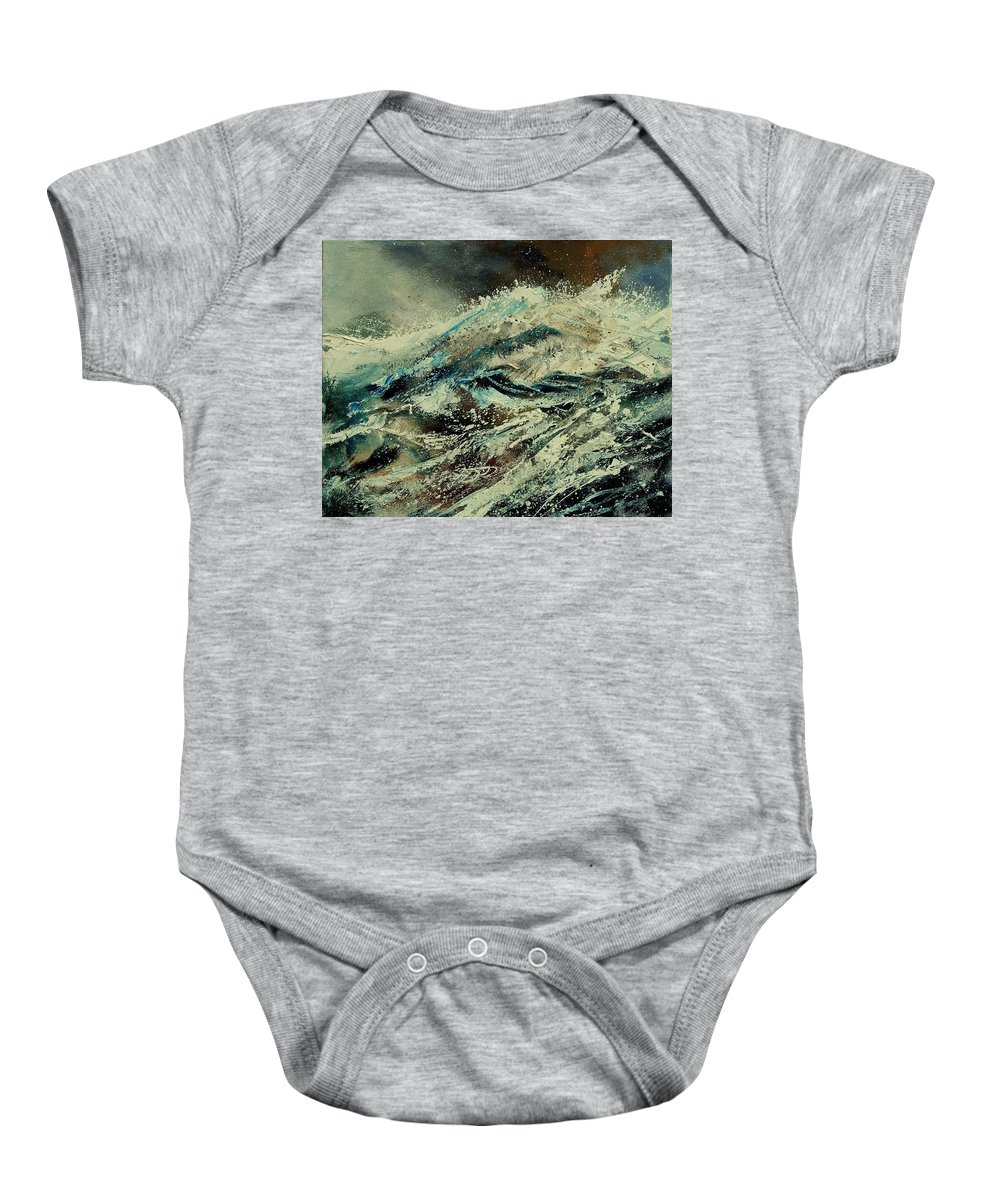 Sea Baby Onesie featuring the painting A Wave by Pol Ledent