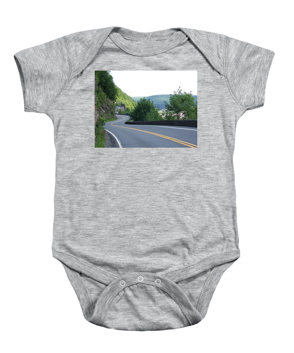 Road Baby Onesie featuring the photograph A Winding Road by Laurie Paci