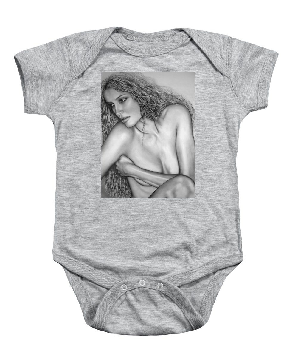A Woman Baby Onesie featuring the drawing A Womans Beauty by Larry Lehman