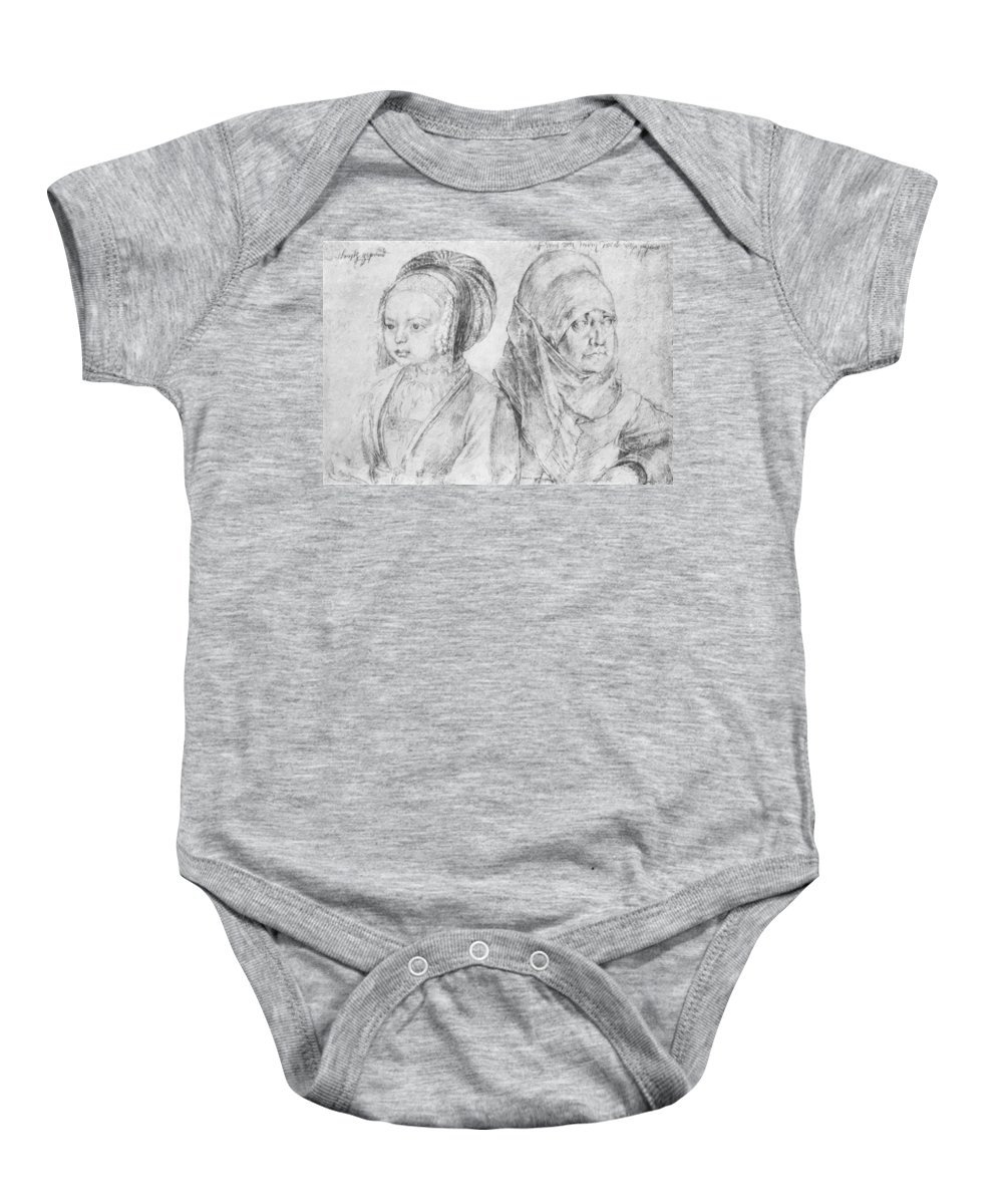 A Baby Onesie featuring the painting A Young Girl Of Cologne And Dbcrer Wife 1520 by Durer Albrecht