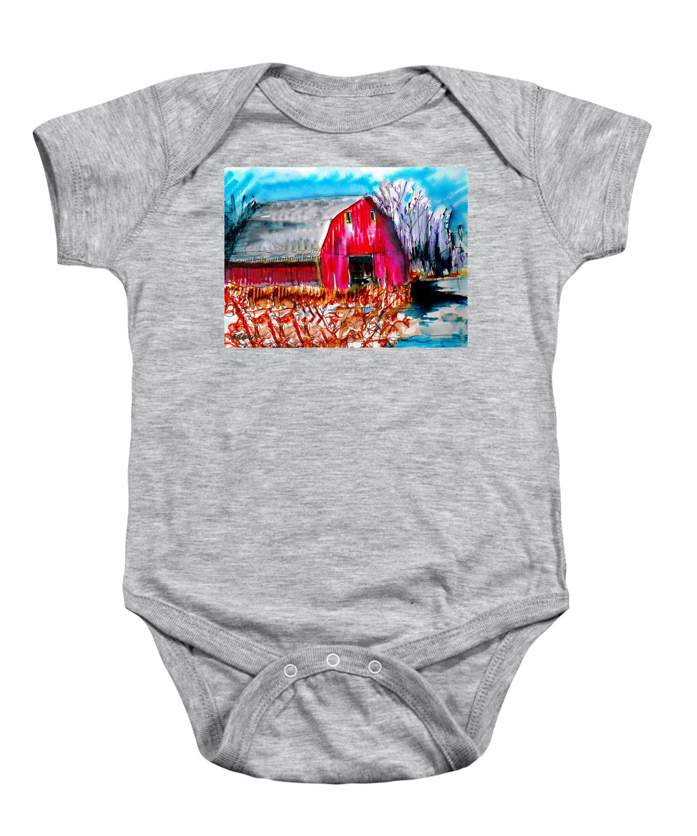 Abandoned Baby Onesie featuring the painting Abandoned Barn by Seth Weaver