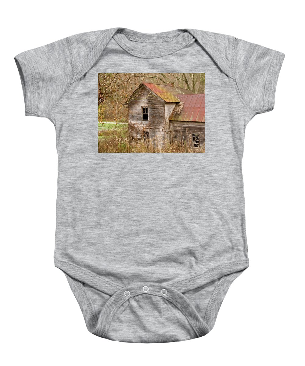 Abandoned Baby Onesie featuring the photograph Abandoned House With Colorful Roof by Douglas Barnett