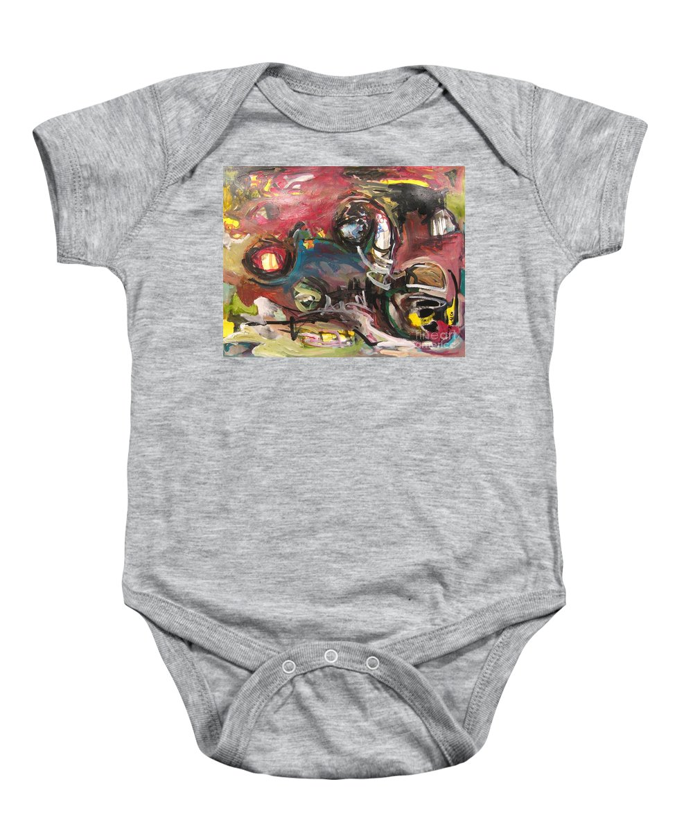 Abstract Paintings Baby Onesie featuring the painting Abandoned Ideas by Seon-Jeong Kim