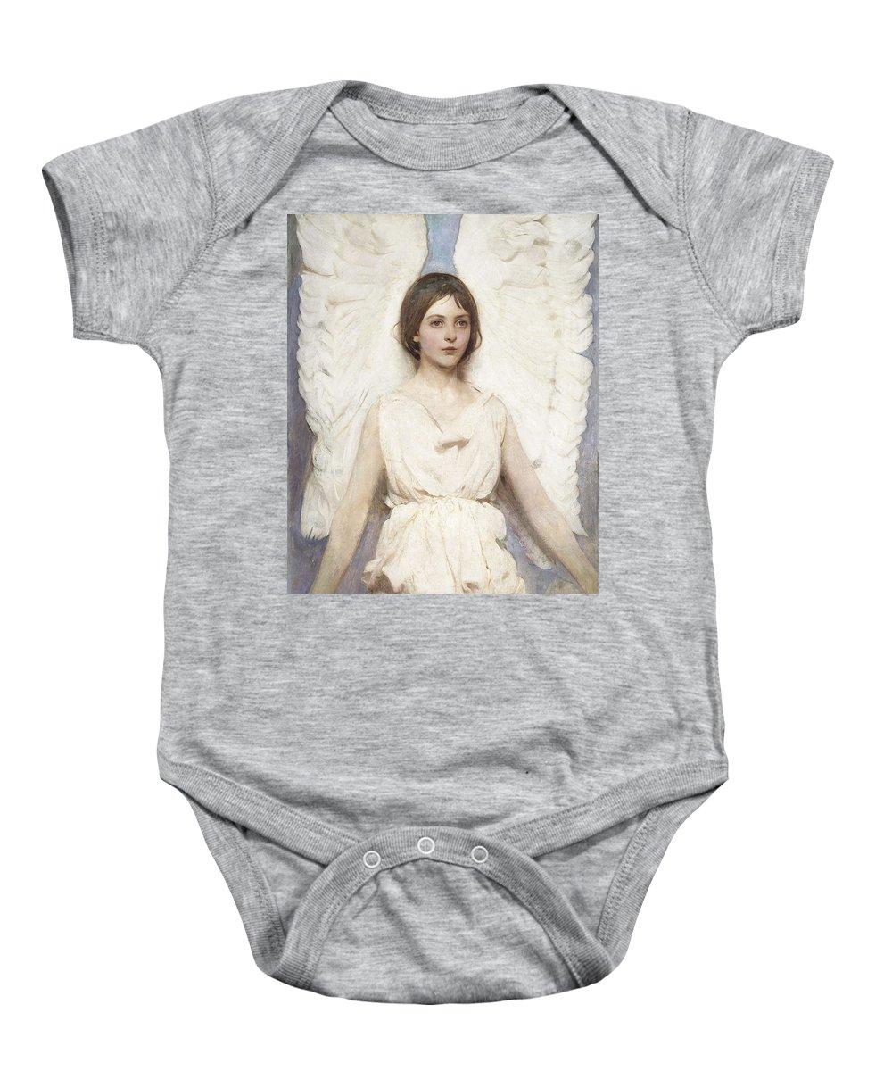 Girl Baby Onesie featuring the painting Abbott Handerson Thayer - Angel by Abbott Handerson Thayer