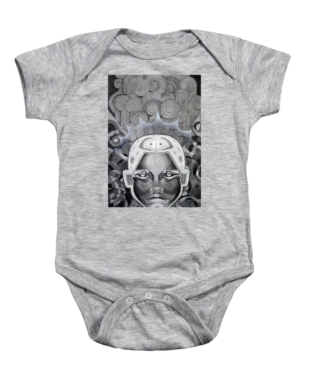 Art Baby Onesie featuring the drawing Abcd by Myron Belfast
