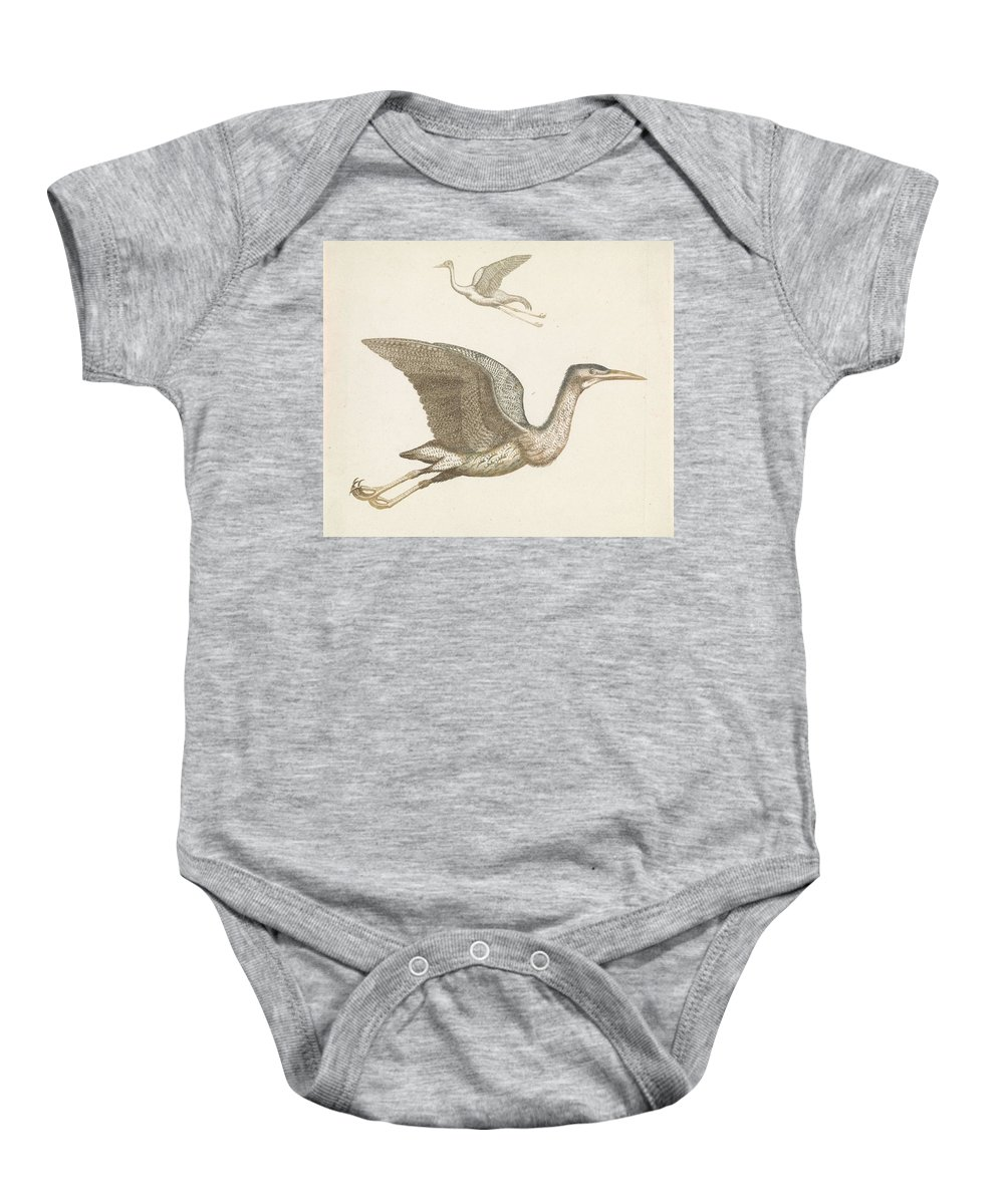 Duck Baby Onesie featuring the painting Above A Flying Crane And Beneath A Flying Pelican, Anonymous, 1688 - 1698 by Artistic Rifki