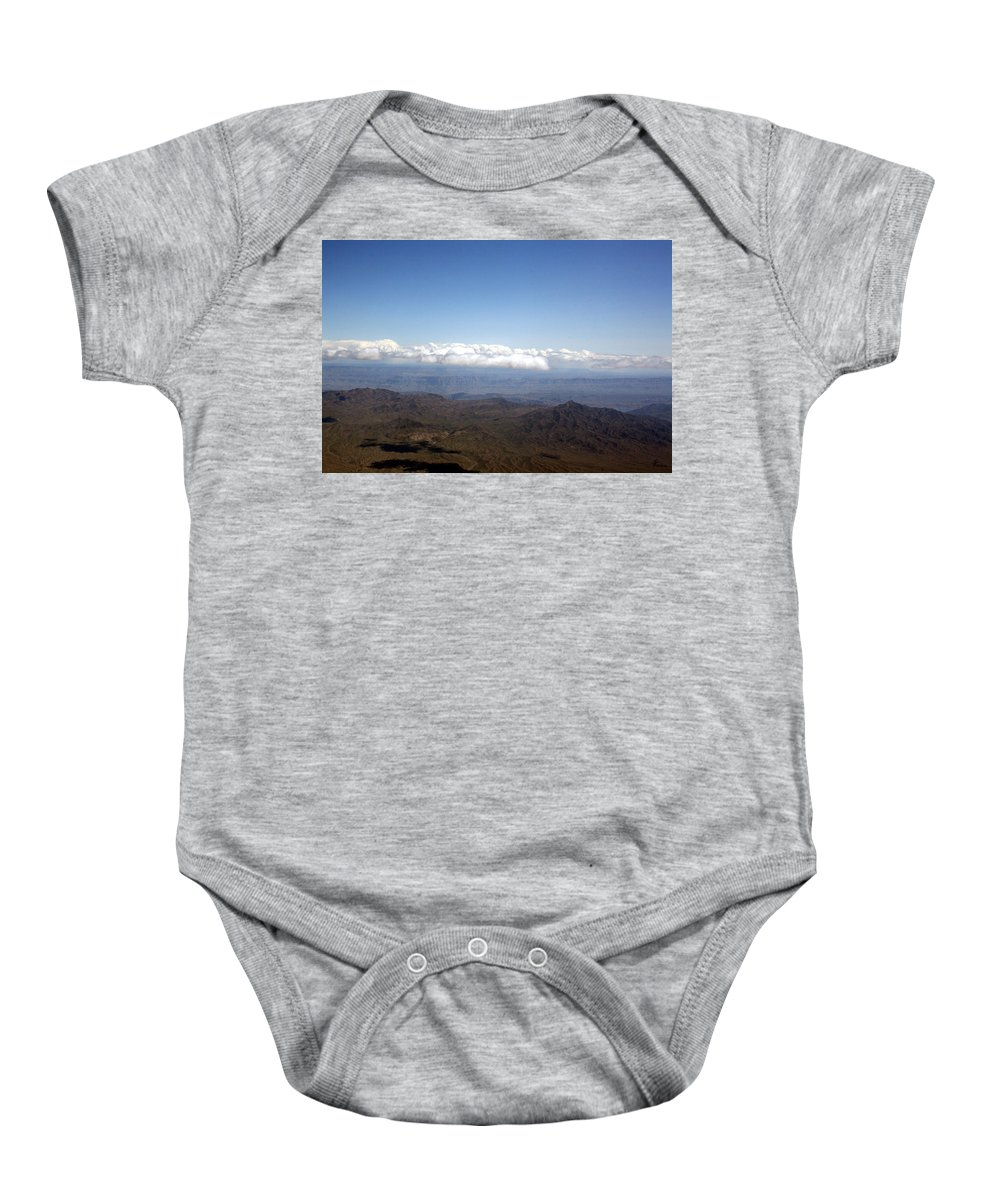 Nevada Desert Clouds Scenery Hills Landscape Sky Canyon Baby Onesie featuring the photograph Above Nevada by Andrea Lawrence