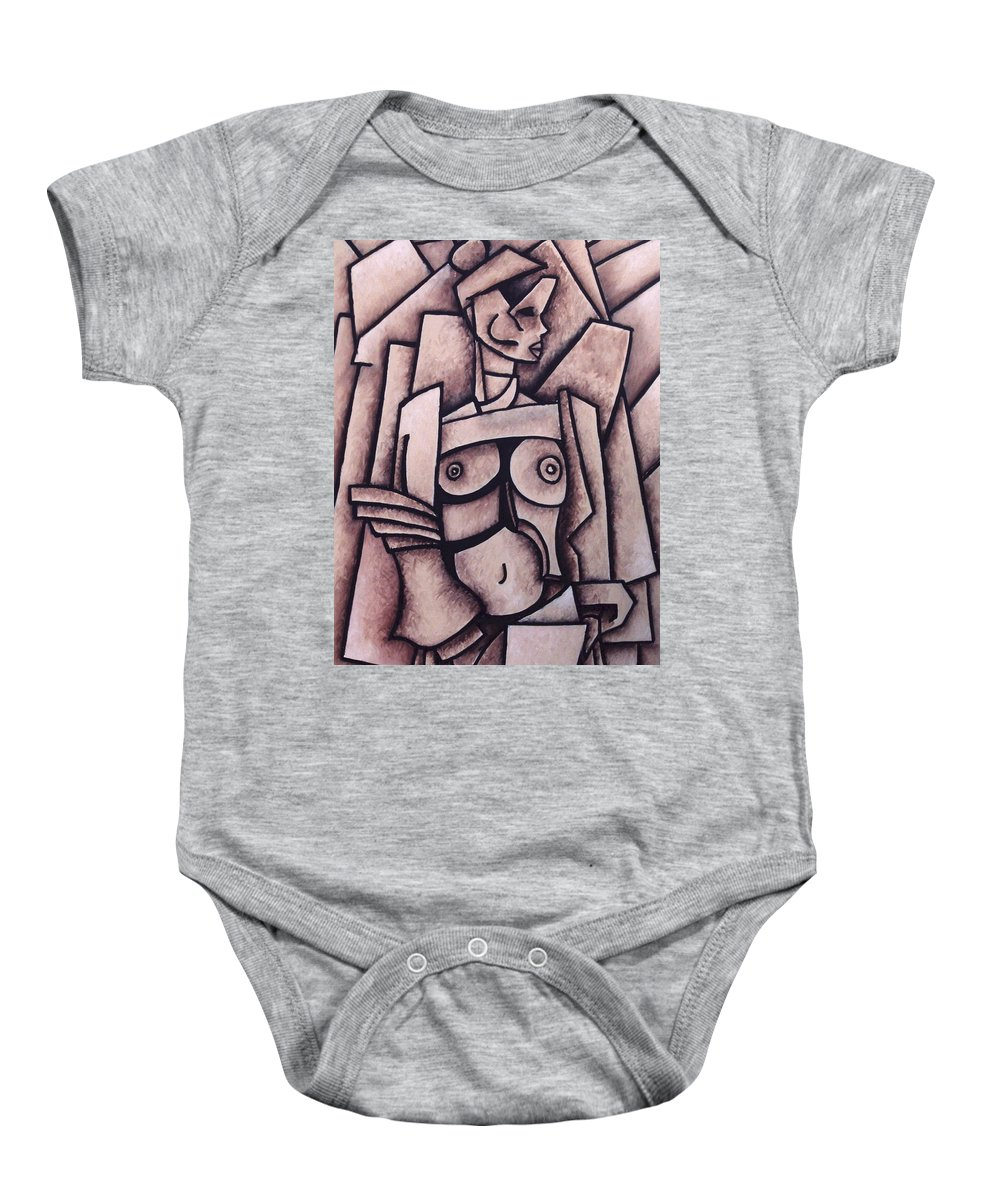 Absract Baby Onesie featuring the painting Absract Girl by Thomas Valentine