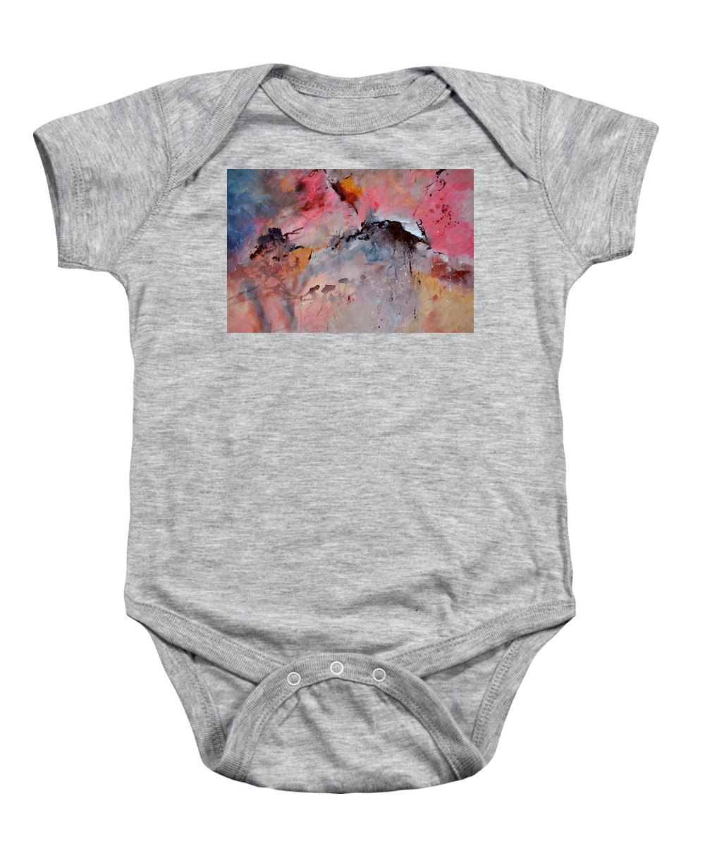 Abstract Baby Onesie featuring the painting Abstract 015082 by Pol Ledent