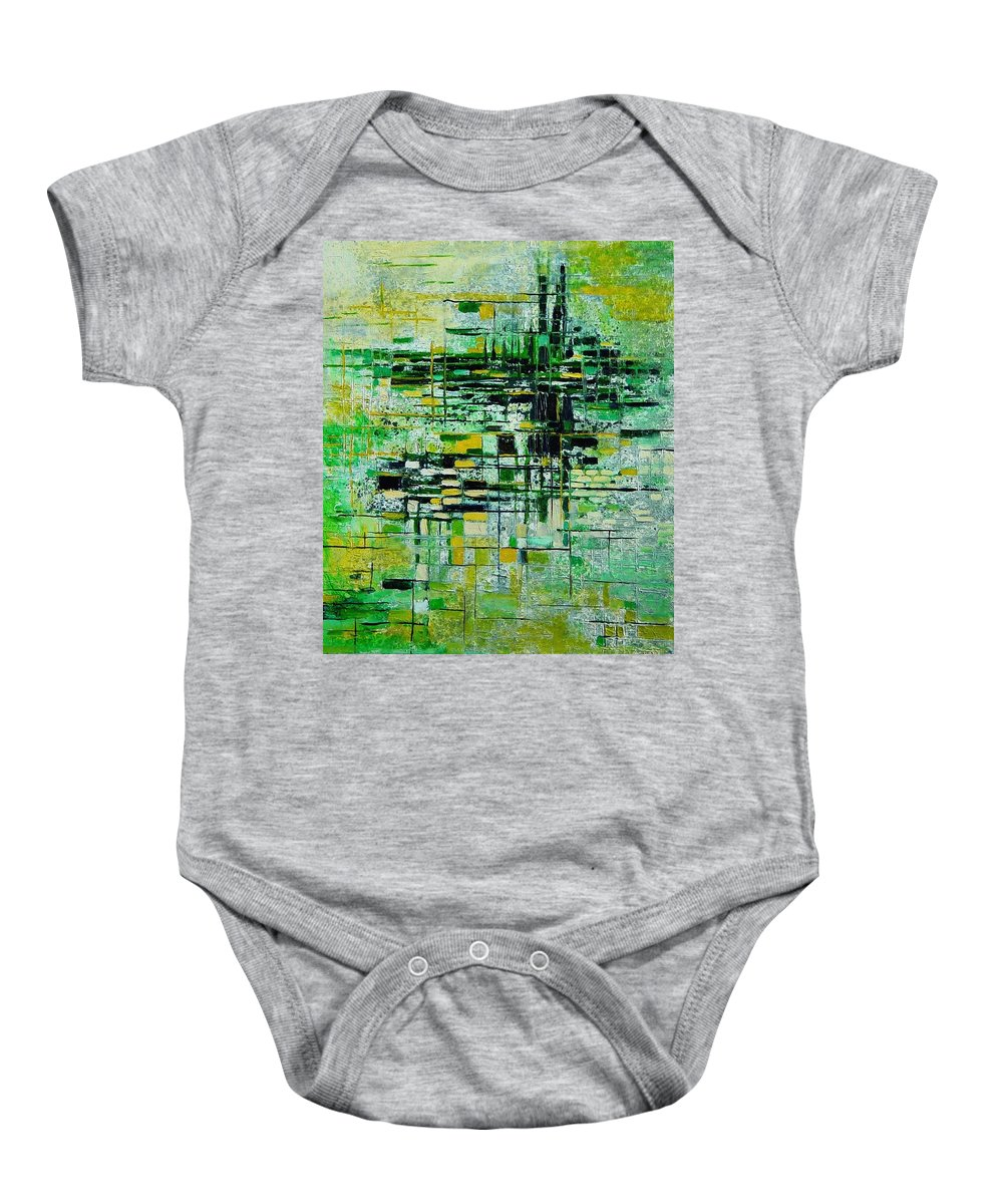 Abstract Baby Onesie featuring the painting Abstract 5 by Pol Ledent