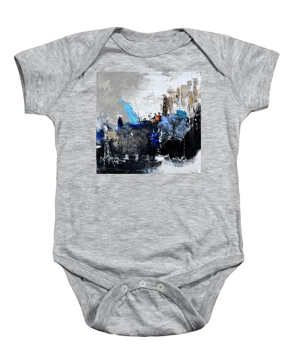 Abstract Baby Onesie featuring the painting Abstract 51703 by Pol Ledent