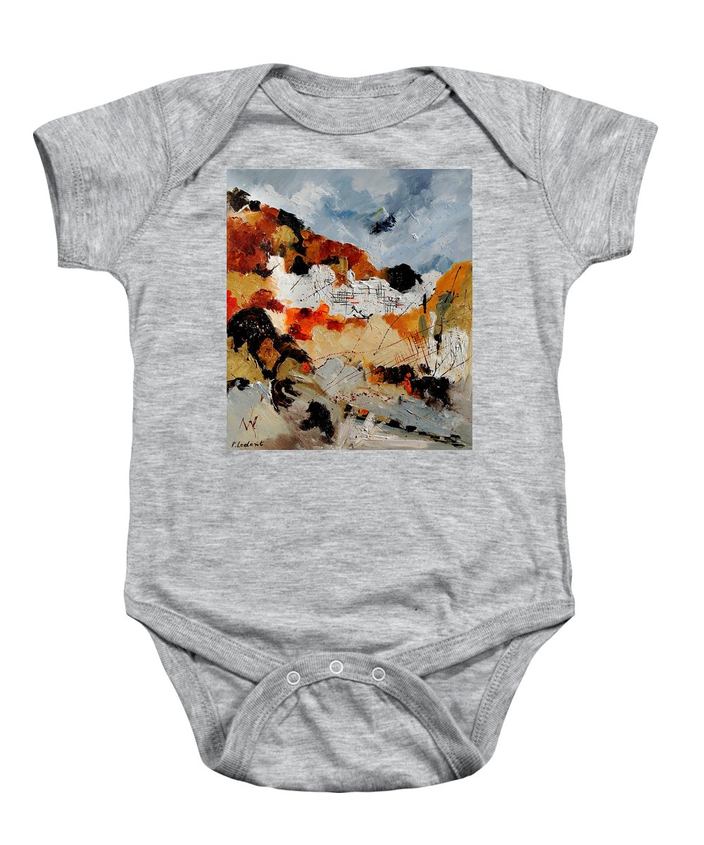 Abstract Baby Onesie featuring the painting Abstract 780708 by Pol Ledent