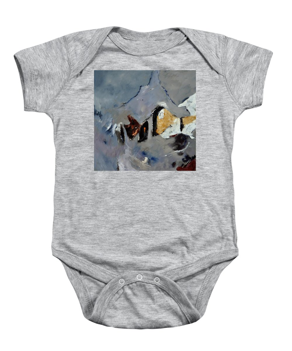 Abstract Baby Onesie featuring the painting Abstract 88112012 by Pol Ledent