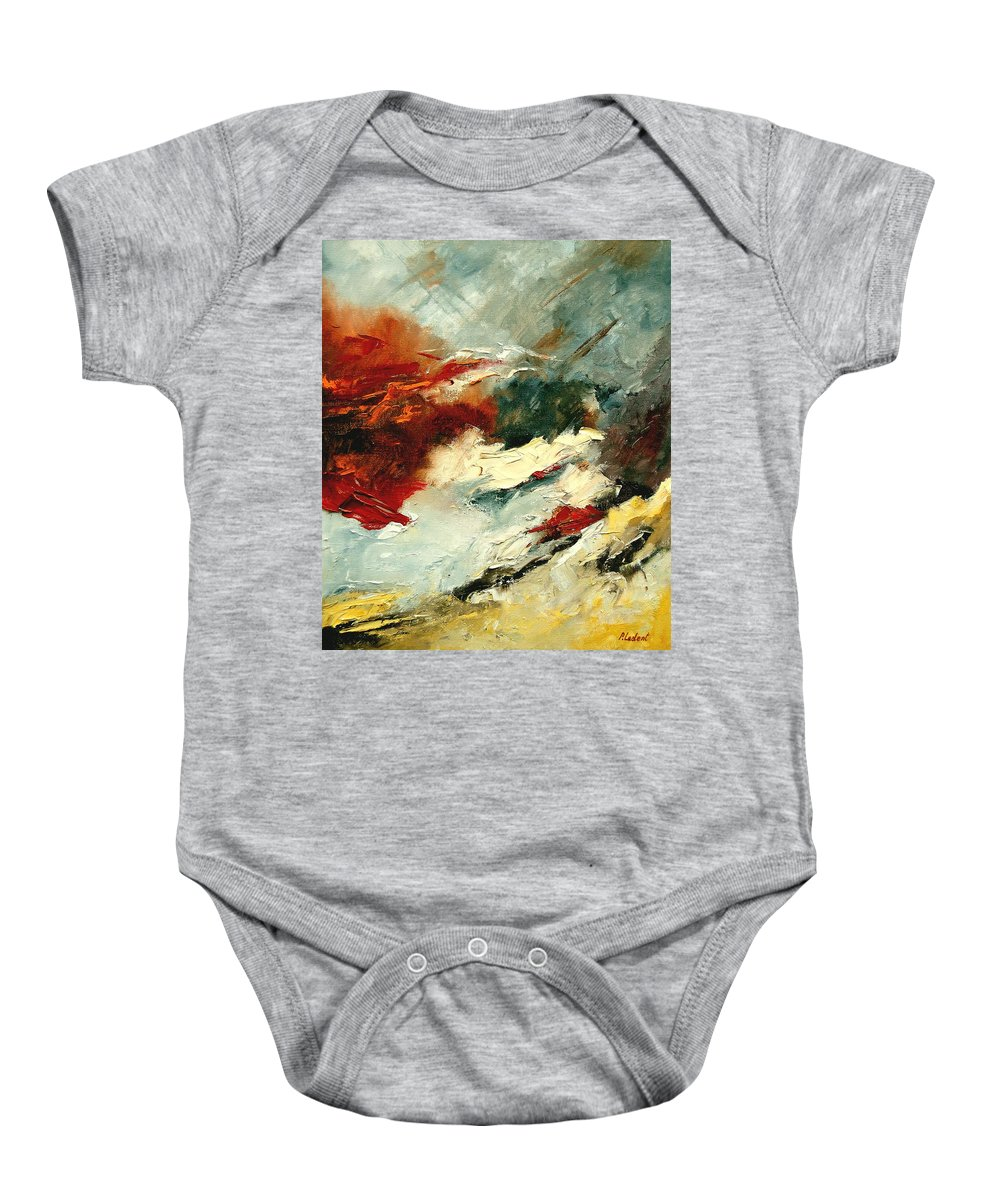 Abstract Baby Onesie featuring the painting Abstract 9 by Pol Ledent