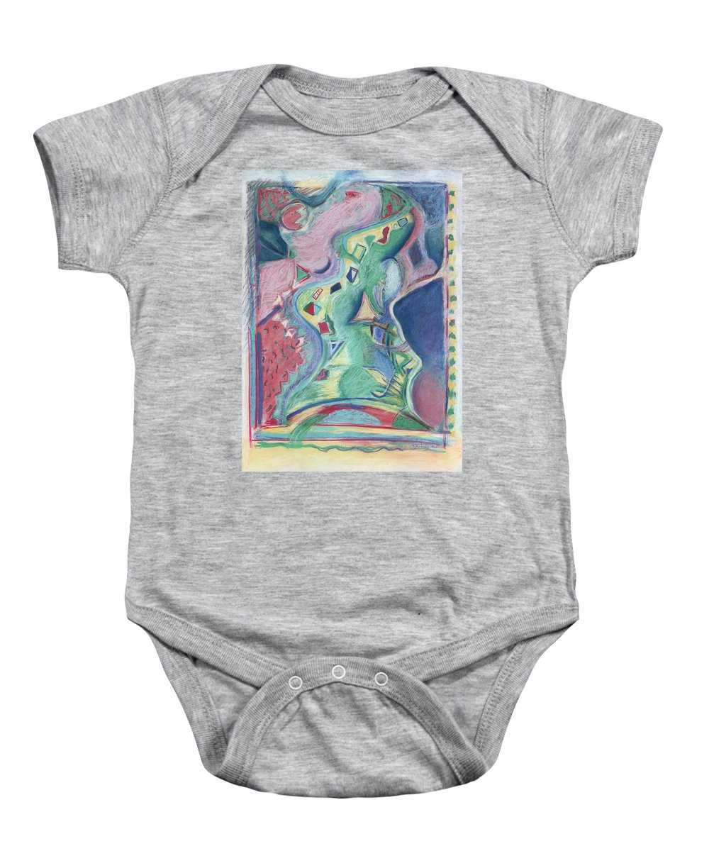 Abstract Baby Onesie featuring the painting Abstract 92 - Inner Landscape by Kerryn Madsen- Pietsch