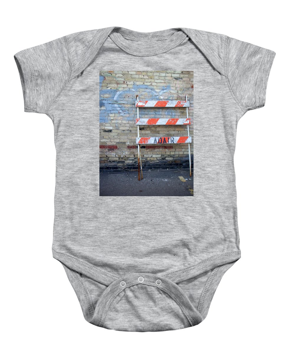 Industrial Baby Onesie featuring the photograph Abstract Brick 1 by Anita Burgermeister