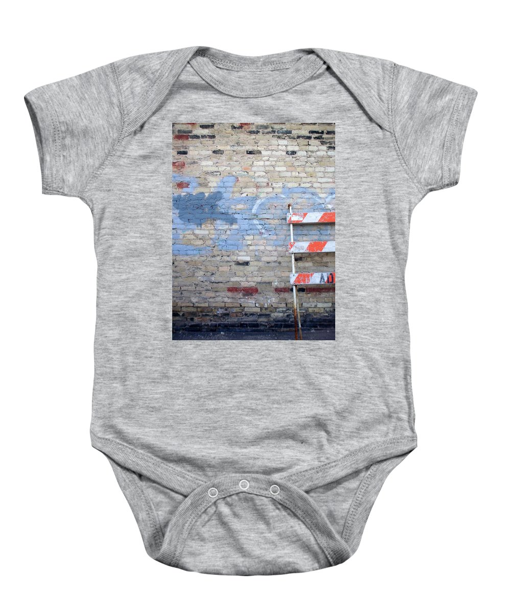 Industrial Baby Onesie featuring the photograph Abstract Brick 2 by Anita Burgermeister