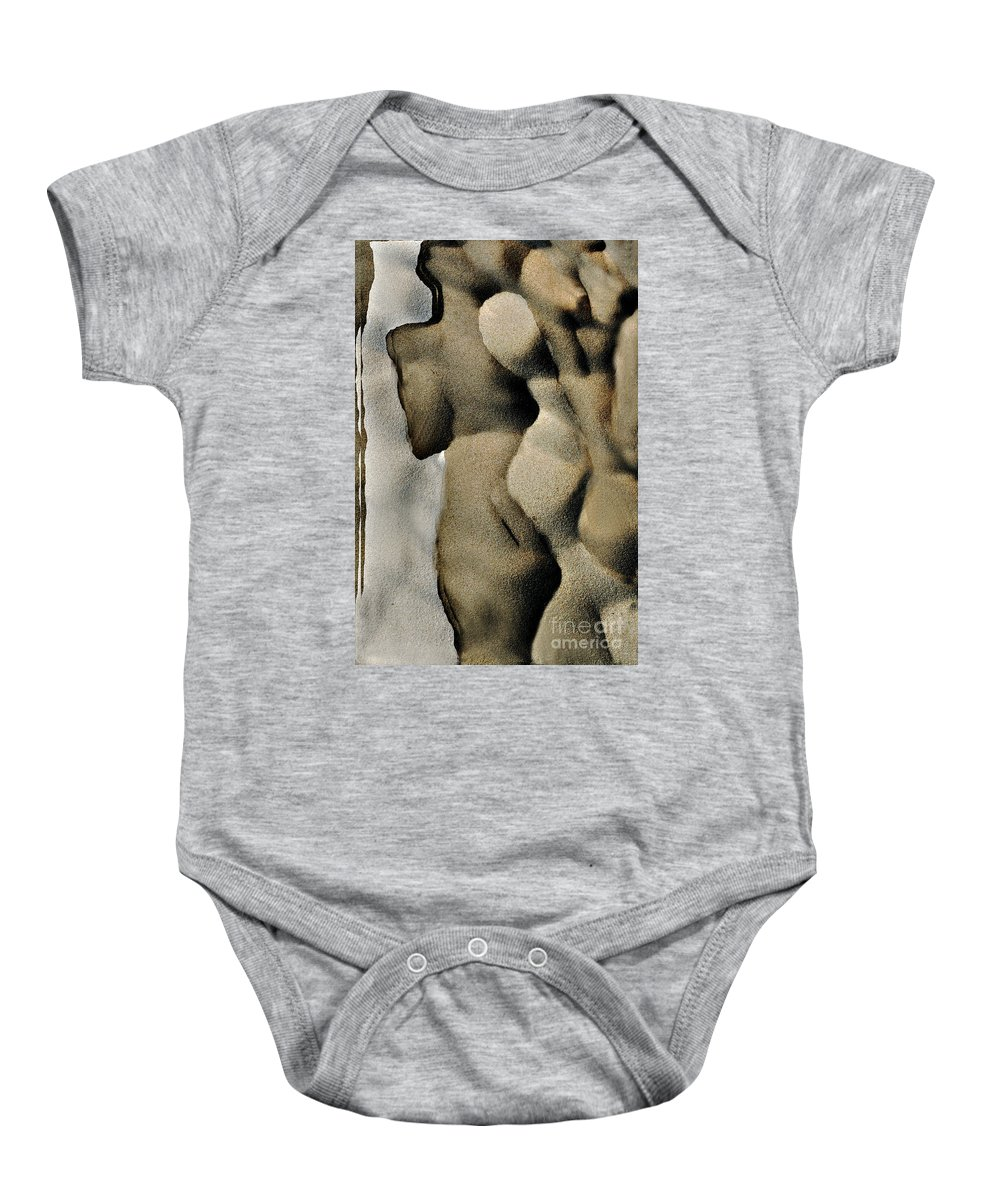 Abstract Baby Onesie featuring the photograph Abstract Female Figure In Grey by Hana Shalom
