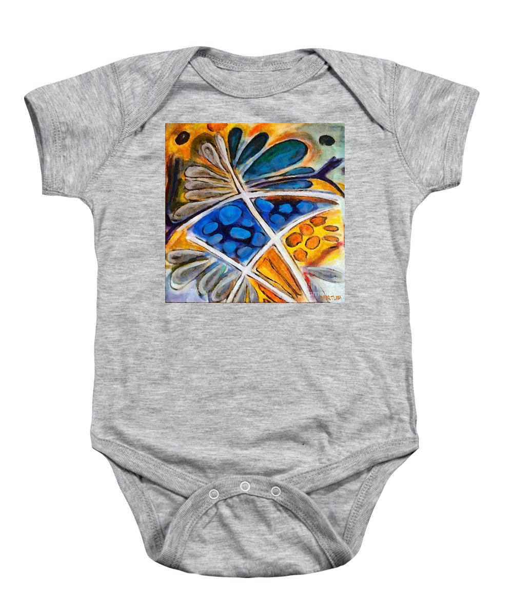 Flower Baby Onesie featuring the painting Abstract Flower by Dragica Micki Fortuna